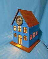 Dekorácie - Drevené hodiny V modrom dome sa svieti - 9460836_