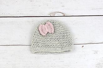 Detské čiapky - Sivo-bledoružová čiapka ALPACA - 9459929_