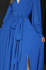 Šaty - Dlhé šaty na zvinovací štýl s dlhými rukávmi rôzne farby - 9459339_