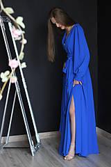 Šaty - Dlhé šaty na zvinovací štýl s dlhými rukávmi rôzne farby - 9459340_