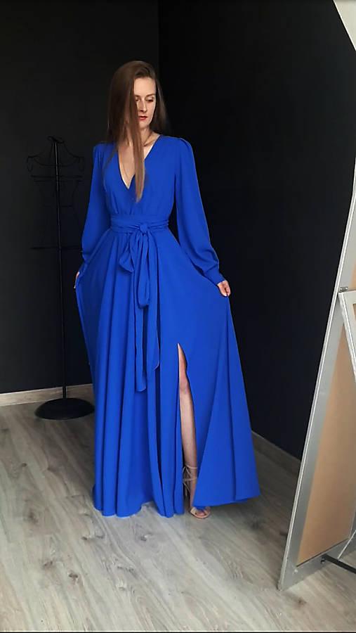 9bec2536e94d Dlhé šaty na zvinovací štýl s dlhými rukávmi rôzne farby   Dyona ...