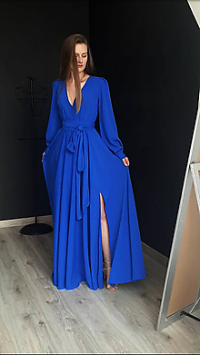 Šaty - Dlhé šaty na zvinovací štýl s dlhými rukávmi rôzne farby - 9459343_