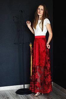 Šaty - Spoločenské šaty z hrubšej smotanovej krajky a tylovej krajky rôzne  farby - 9460107  a10bafc212b