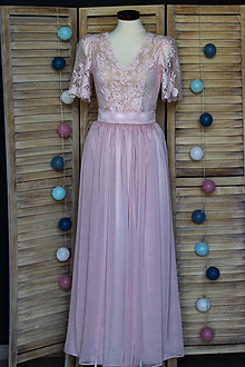 Šaty - Spoločenské šaty s volánovými rukávmi - 9460184_