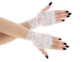 Rukavice - Dámské biele svadobné čipkové rukavice 014S - 9462162_
