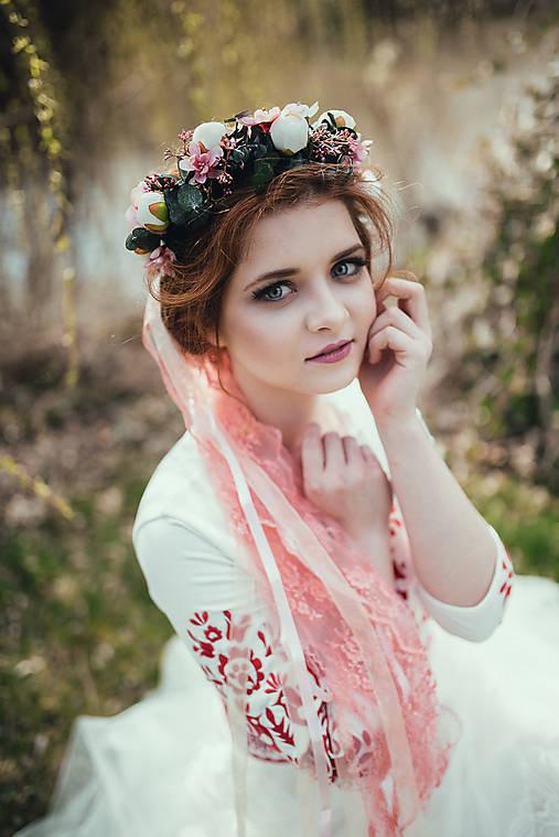 """Ozdoby do vlasov - Kvetinový venček """"s tebou v srdci"""" - bez závoja (možnosť dokúpiť) - 9459773_"""