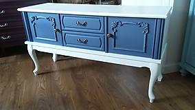 Nábytok - Komoda modro - biela - predaná :) - 9459592_