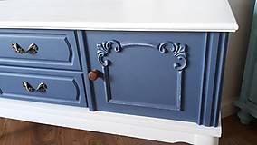 Nábytok - Komoda modro - biela - predaná :) - 9459594_
