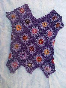Tričká - Háčkované tričko vo fialkovom - 9464074_