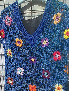 Tričká - Háčkované tričko v modrej farbe - 9464094_