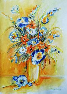 Obrazy - Oranžovo-modrá kytica - 9463041_