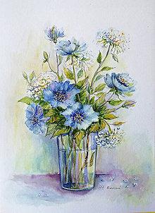 Obrazy - Modré kvietky vo váze - 9463048_