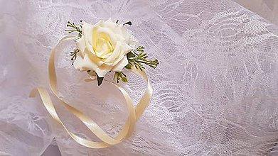 Pierka - náramok svadobný krémový pre družičku - 9462648_