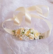 Pierka - svadobný kvetinový opasok krémový - 9462702_