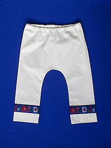 Detské oblečenie - folklórne chlapčenské nohavice krojové (s modrou krojovkou veľkosť 92) - 9463917_