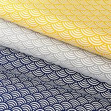 Textil - modré vlnky; 100 % bavlna Nemecko, šírka 140 cm, cena za 0,5 m - 9463772_