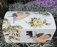 Krabičky - Veľká drevená šperkovnica - Môj anjel s motýľom - 9464398_