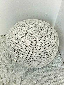 Úžitkový textil - Háčkovaný PUF prírodný bavlna - 9462845_