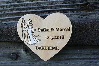 Darčeky pre svadobčanov - magnetka drevená-svadobná2 - 9463942_