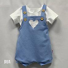 Detské oblečenie - Modré opaľovačky so srdiečkom. - 9465272_