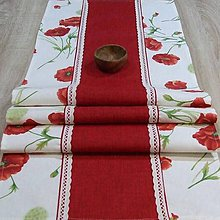 Úžitkový textil - Maky s červenou - stredový obrus  (175 cm x 40 cm) - 9464852_