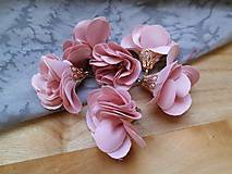 - Textilné kvety, filigrán - pár (Lososová) - 9462692_