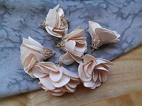 Polotovary - Textilné kvety, filigrán - pár (Béžová) - 9462697_