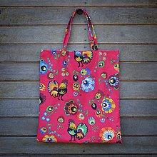 Nákupné tašky - Nákupná taška folk červená (predĺžené rúčky) - 9462417_