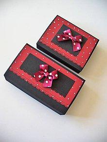 Krabičky - bodky na bordovej... - 9466734_