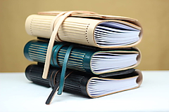 Papiernictvo - Kožený zápisník BIANCO A5 s vnútorným vreckom - 9467065_