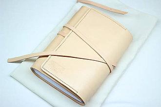 Papiernictvo - Kožený zápisník BIANCO A5 s vnútorným vreckom - 9467059_