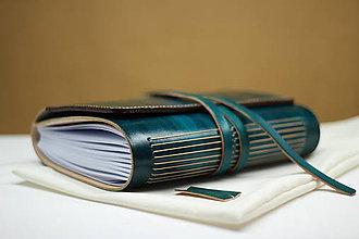 Papiernictvo - Kožený zápisník AKVAS A5 s vnútorným vreckom - 9467152_
