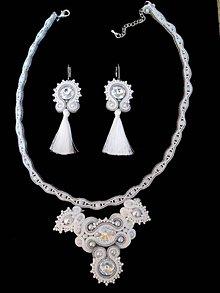 Sady šperkov - Bielo-strieborný šujtášový set, Sw. Crystal - 9466379_