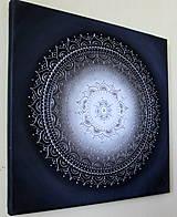 Obrazy - KVET ŠŤASTIA BIELY (silver) 40 x 40 - 9466705_