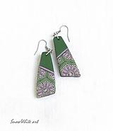 Náušnice - Náušnice kvetnaté (Zelená) - 9467953_