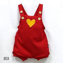 Detské oblečenie - Červené opaľovačky so srdiečkom - 9467665_