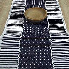 Úžitkový textil - Čaro modrej kuchyne - stredový obrus bodky a pásiky - 9467125_
