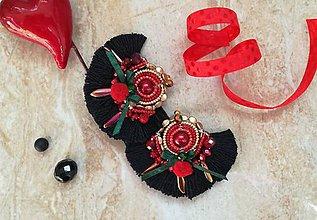 Náušnice - Flamenco nausnicky cierne - 9465769_