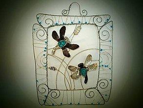 Dekorácie - Vážky jin - jang, tyrkys - 9470056_