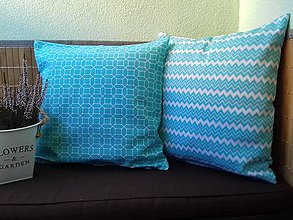 Úžitkový textil - Obliečky na vankuš (Obliečky s abstraktným vzorom/modré) - 9469521_