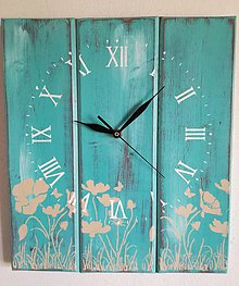 Hodiny - Nástenné hodiny - tyrkysové snenie - 9468790_