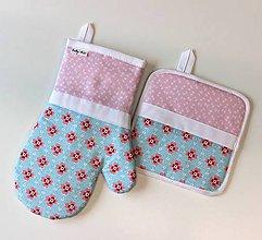 Úžitkový textil - set rukavica+chňapka Loli rose tyrkys - 9469074_