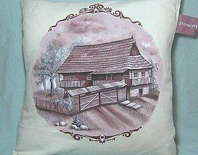 Úžitkový textil - Dekoračné vankúše s drevenicami I. - 9470400_