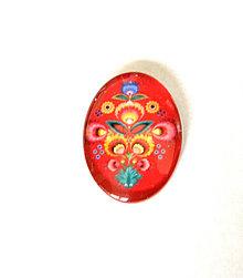 Komponenty - folklorny kvet - 25x18mm cerveny kvet - 9468814_