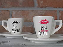 Nádoby - Šálky na ristretto - Mr. and Mrs. Right - 9468951_