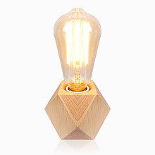 Svietidlá a sviečky - Stolová lampa z prírodného dreva so stmievačom - 9469707_