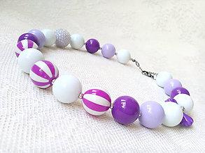 Náhrdelníky - Bubblegum necklace (violet/white) - 9473721_