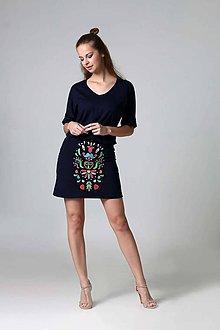 Sukne - Mini sukňa vyšívaná modrá - 9470702_