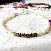 Náramky - Tourmaline & Freshwater Pearls Delicate Bracelet / Jemný náramok turmalín a riečne perly, ag925 /0260 - 9472240_
