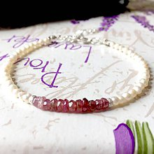 Náramky - Tourmaline & Freshwater Pearls Delicate Bracelet / Jemný náramok turmalín rubelit a riečne perly, ag925 /0259 - 9472425_